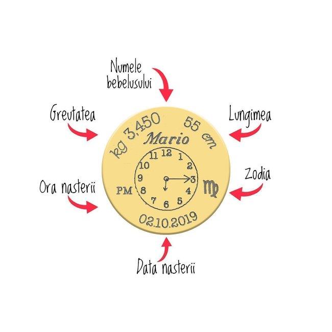 Pandantiv Aur 14K ceasul bebelusului banut 15 mm personalizat gravura foto