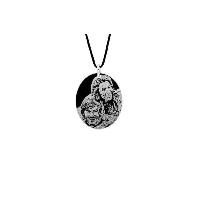 Pandantiv oval 21 mm personalizat gravura foto Argint 925 rodiat