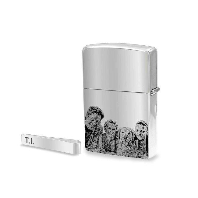 Set ac de cravata Argint 925 si bricheta Zippo argintiu lucios personalizate gravura foto