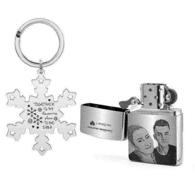 Set breloc fulg de nea 47 mm si bricheta Zippo argintiu - mat personalizate gravura text si foto